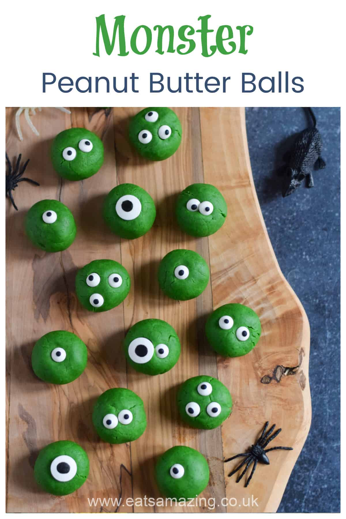 How to make cute and easy Monster Peanut Butter Balls - fun Halloween recipe for kids