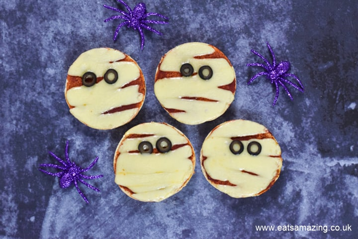 How to make cute and easy Mummy Themed Halloween Pizzas - easy Halloween Recipe for Kids