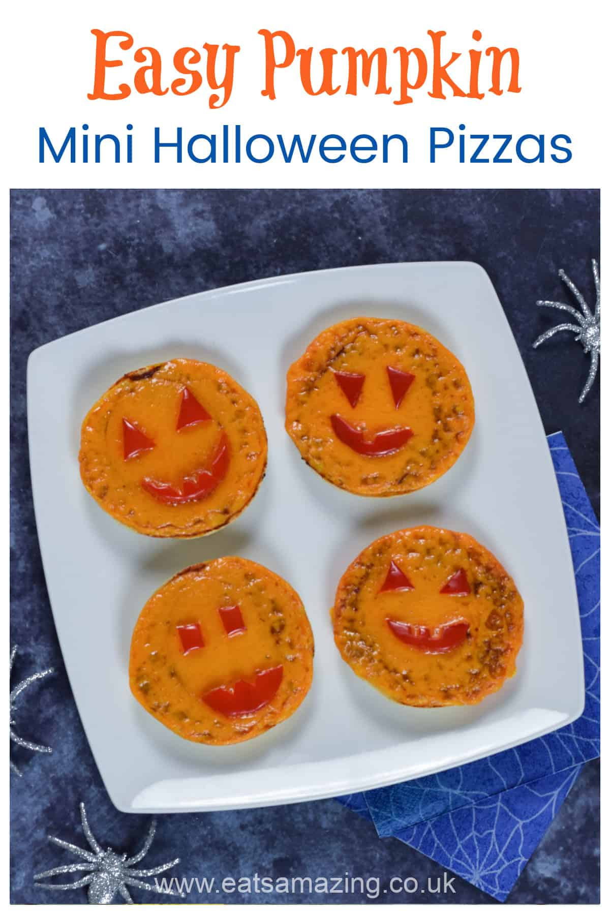 Mini Halloween Pumpkin Pizzas recipe - quick and easy fun Halloween recipe for kids