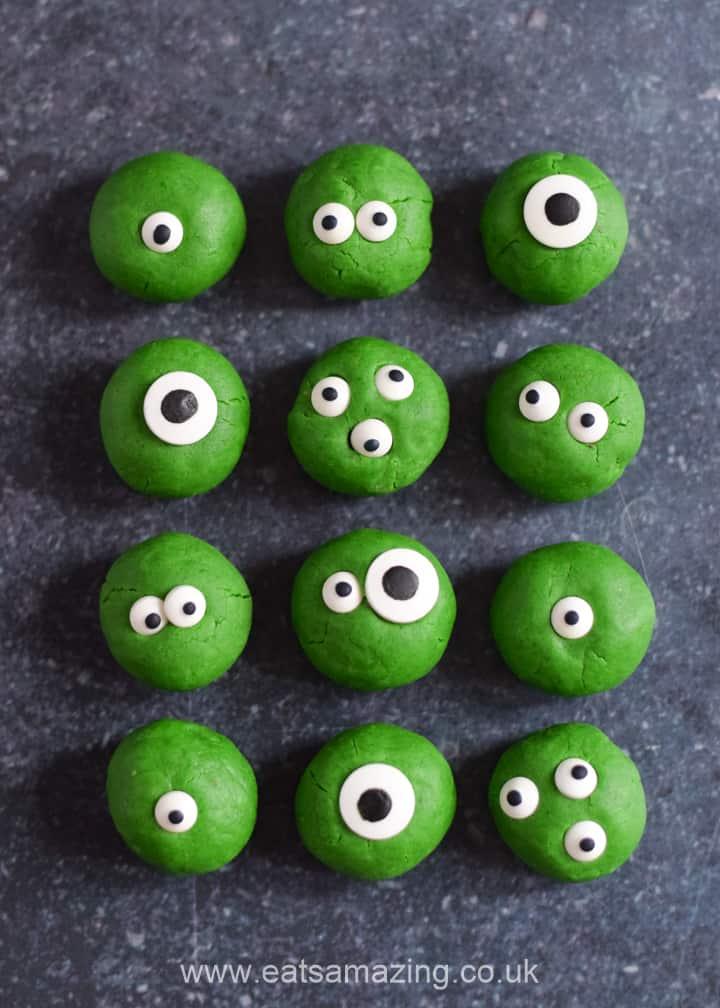 Monster Halloween peanut butter balls recipe - fun Halloween treat for kids