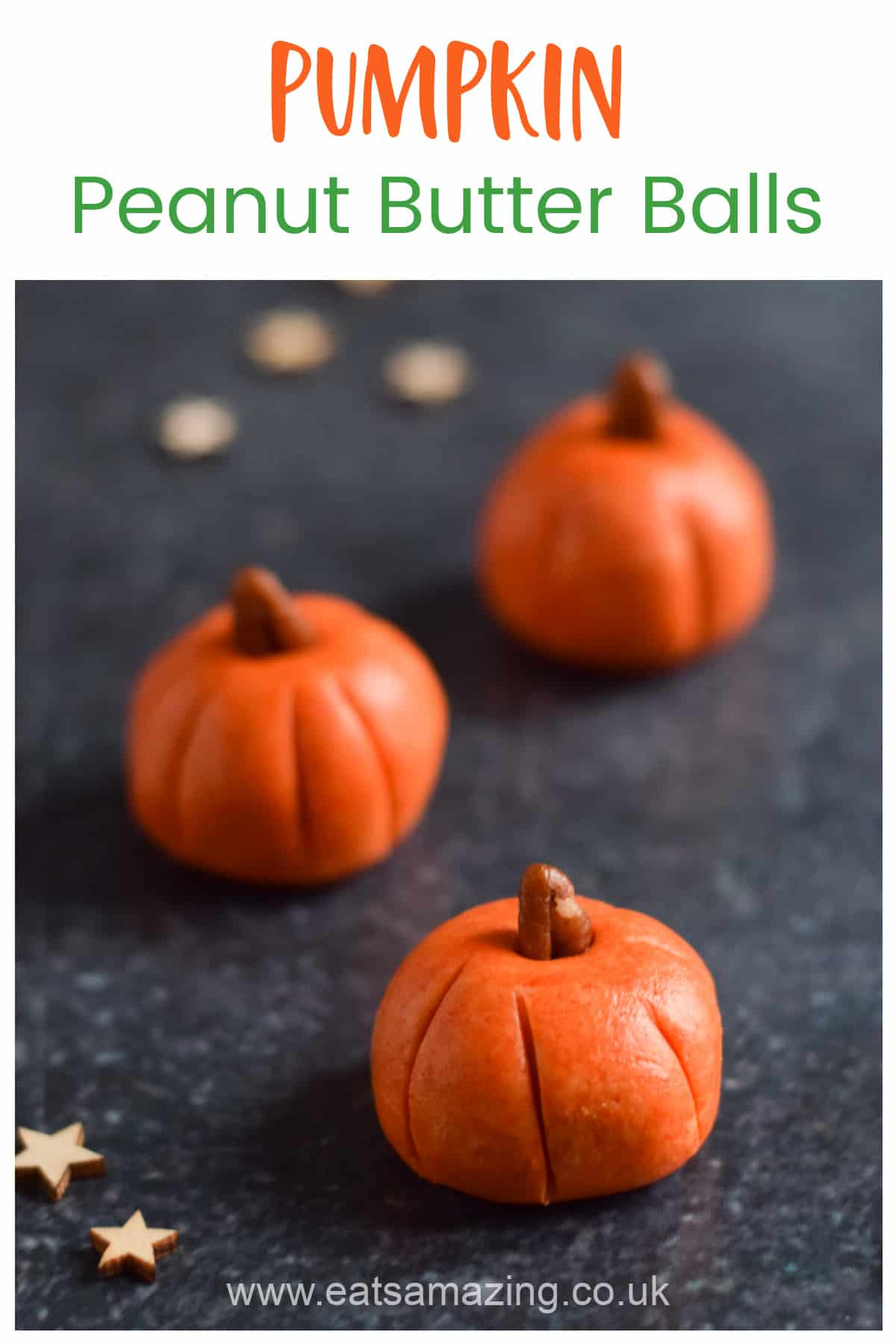 Pumpkin Halloween Peanut Butter Balls Recipe - Easy Fun Halloween Food for Kids
