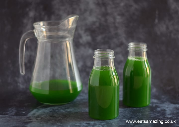 Worm juice recipe - fun Halloween mocktail for kids - step 4 pour into bottles or glasses
