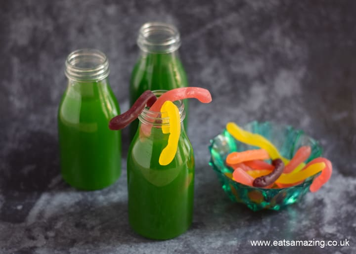 Worm juice recipe - fun Halloween mocktail for kids - step 5 add gummy worms