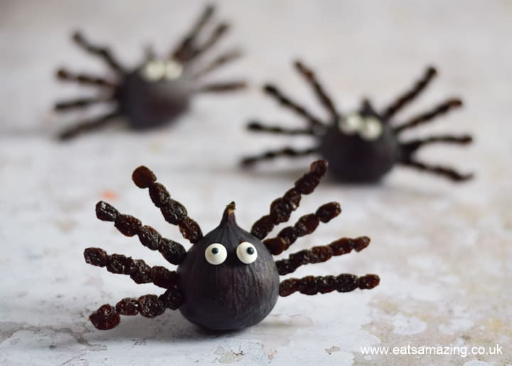 Cute and easy fruit spiders are perfect for healthy Halloween snacks for kids - with step by step photos