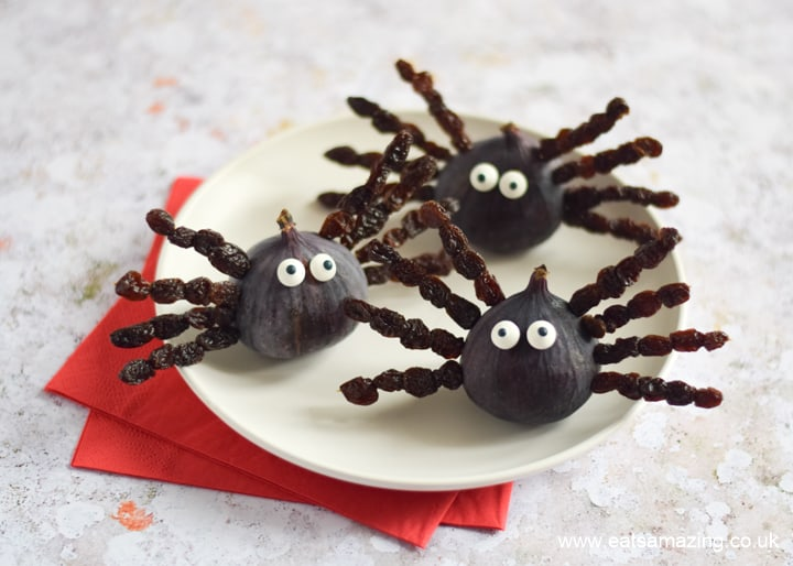 Fun healthy Halloween snack idea for kids - fig and raisin spiders - perfect for Halloween party food