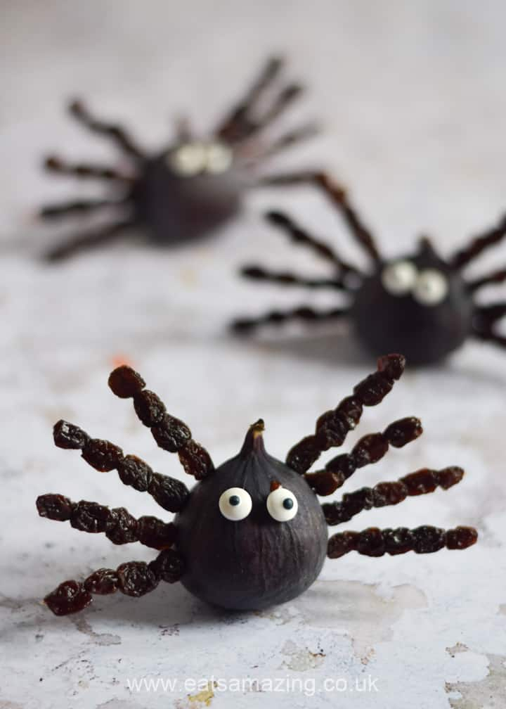 How to make fun and easy fig and raisin spiders - cute and healthy Halloween snack idea for kids