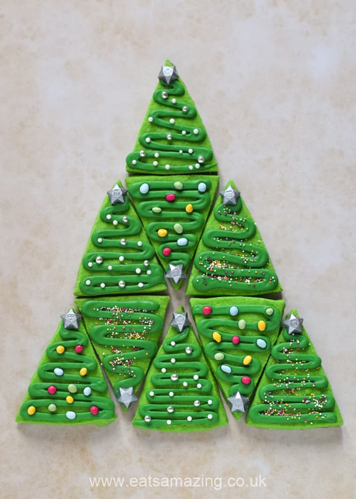 Cute and easy Christmas cookies - shortbread Christmas trees recipe