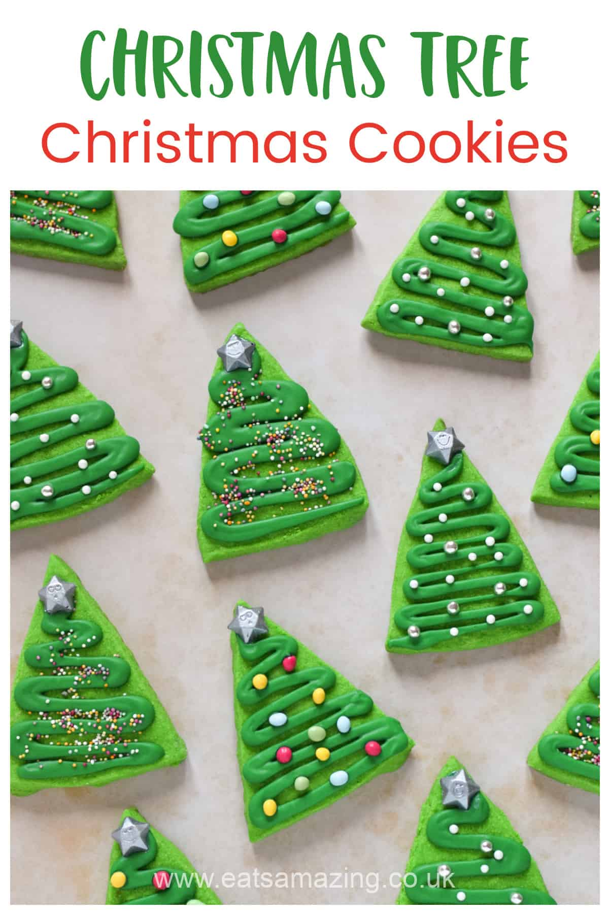 Cute and easy Christmas tree Christmas cookies recipe - perfect for baking with kids and homemade gifts