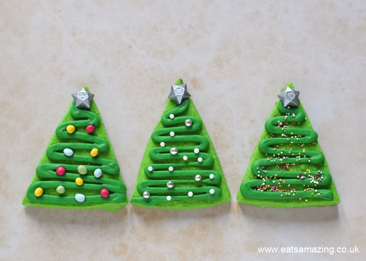 Cute and easy Christmas tree shortbread cookies recipe for kids