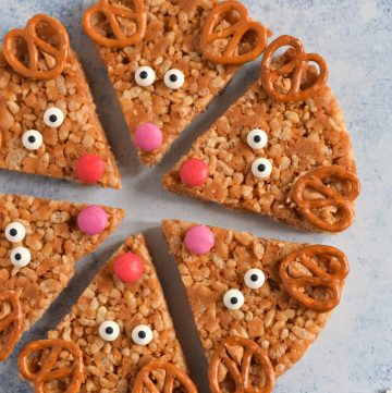 Cute and easy Peanut Butter Rice Crispy Reindeer Treats Recipe - fun Christmas recipe for kids