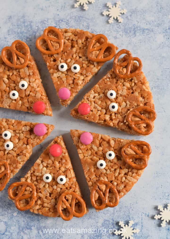 Cute and easy Peanut Butter Rice Crispy Reindeer Treats Recipe - fun Christmas recipe for kids