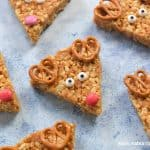 Cute and easy Peanut Butter Rice Crispy Reindeer recipe for kids with video recipe and printable recipe sheet