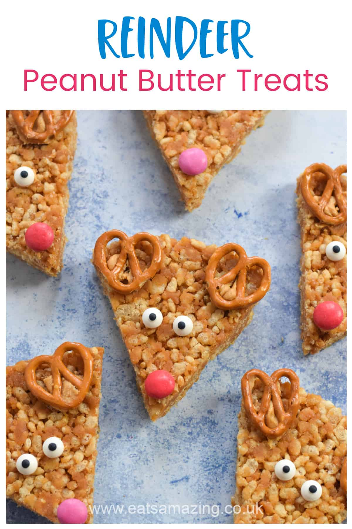 Cute and easy reindeer peanut butter rice crispy treats recipe - fun and healthy Christmas food for kids