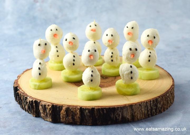 Cute mozzarella cheese snowman appetisers recipe - fun Christmas food for kids