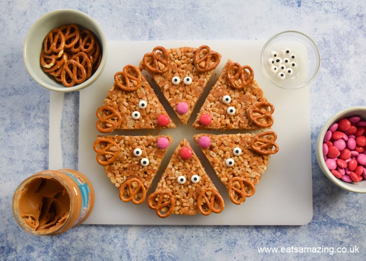 Decorate homemade Peanut Butter Rice Crispy Treats to turn them into reindeer