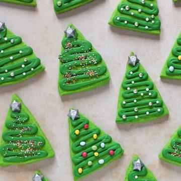 Easy Shortbread Christmas Tree Cookies recipe - fun Christmas cookies for kids to make