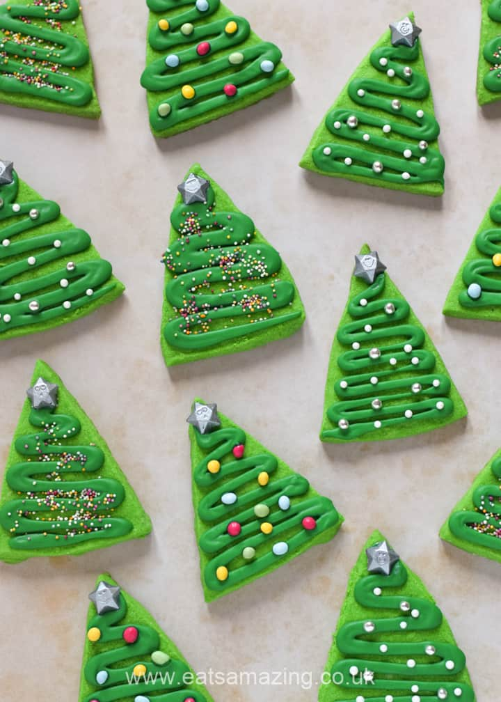 Easy Shortbread Christmas Tree Cookies recipe - fun Christmas cookies for kids to make