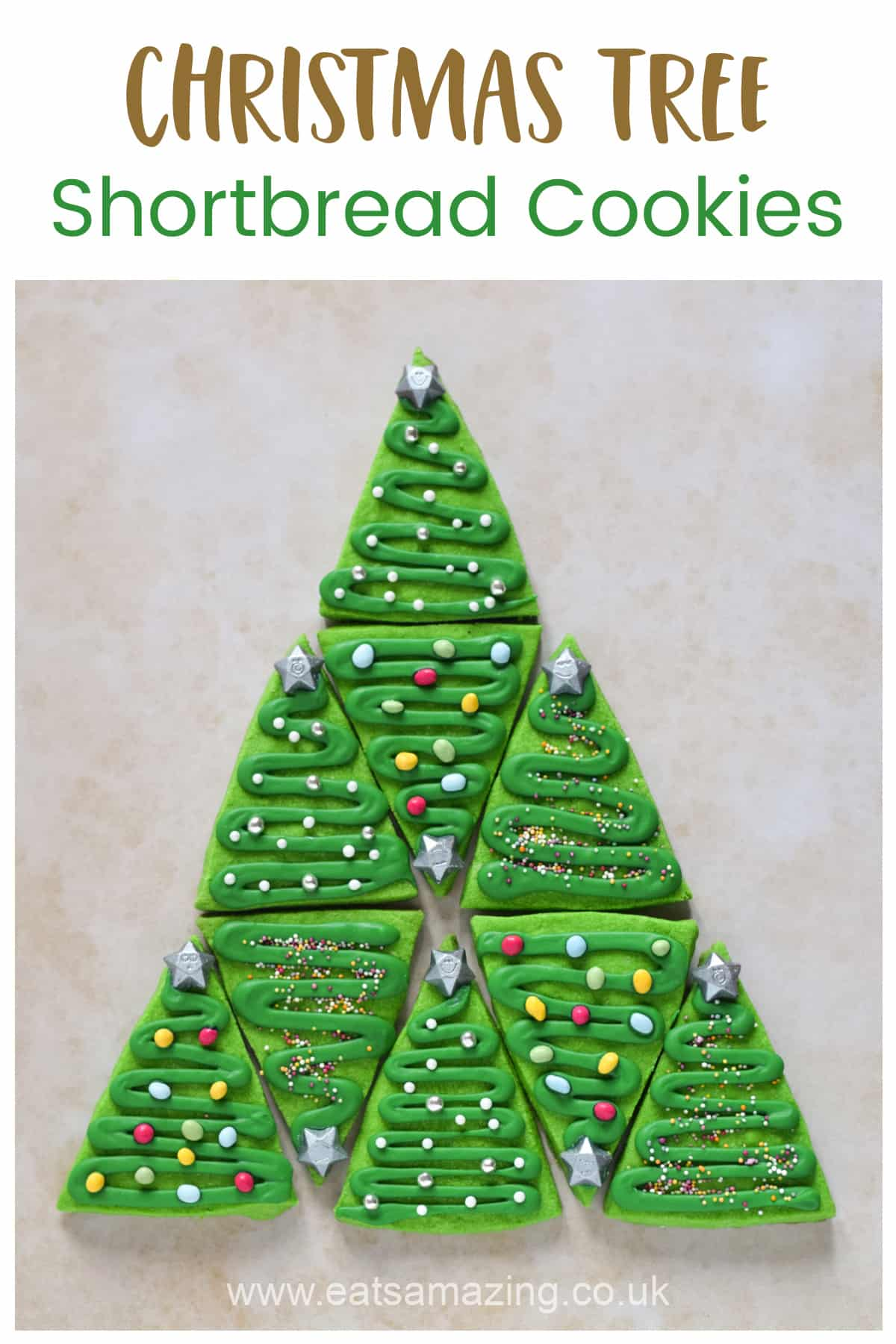 Easy shortbread Christmas tree cookies recipe - cute Christmas baking idea for kids