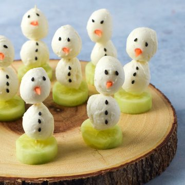 Fun and easy mozzarella snowmen recipe - perfect for a Christmas appetiser