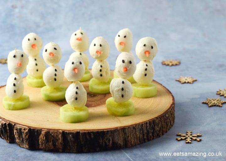 Fun mozzarella snowman snacks recipe for kids - fun and healthy Christmas food idea