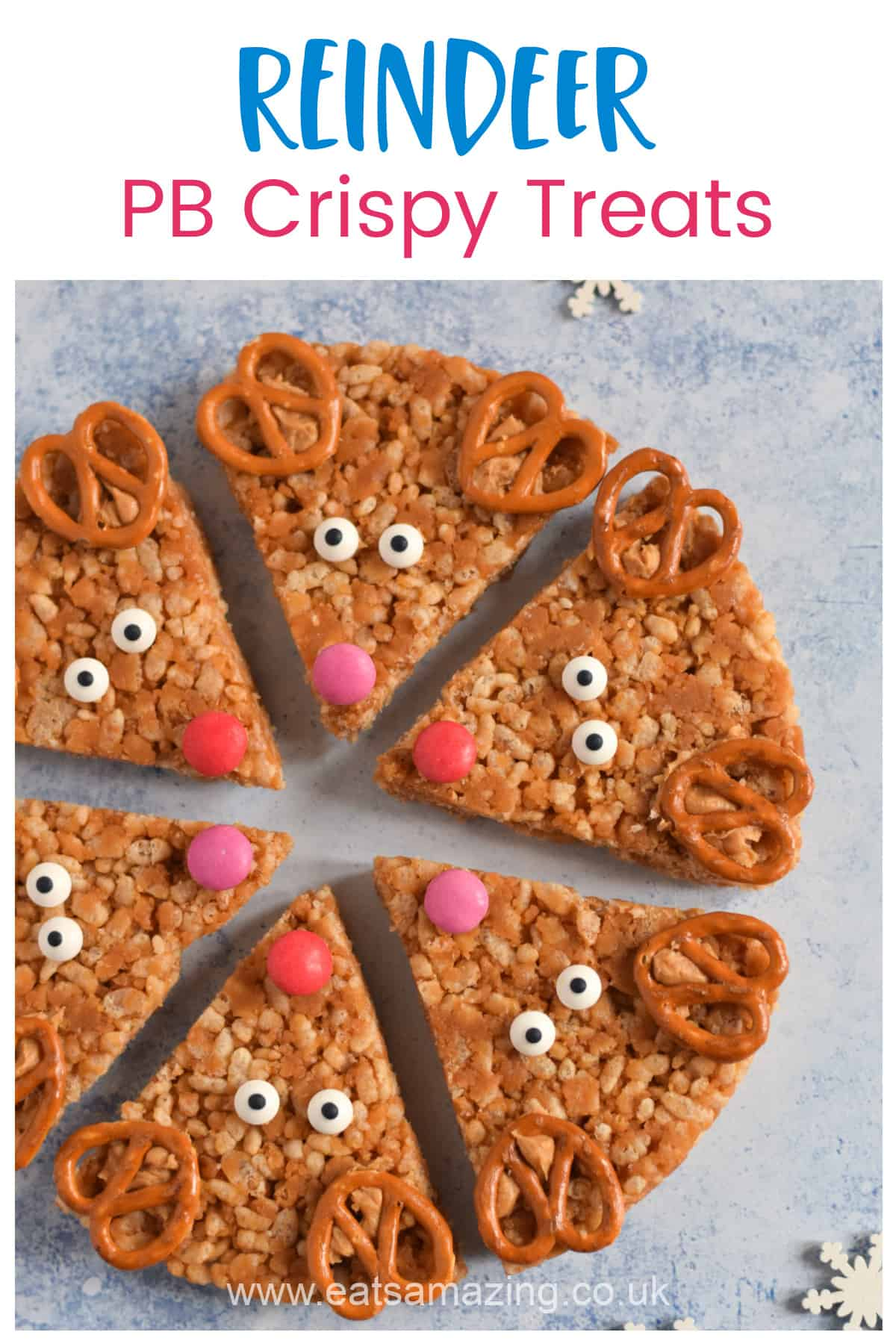 How to make Reindeer themed peanut butter rice crispy treats - fun Christmas recipe for kids with video