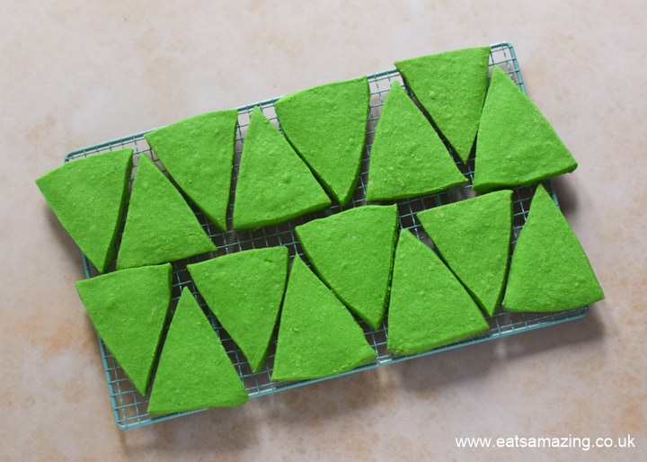 How to make easy Christmas tree cookies - step 1 cool on a cooling rack