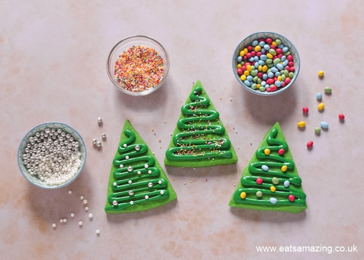 How to make easy Christmas tree cookies - step 4 decorate cookies with sprinkles
