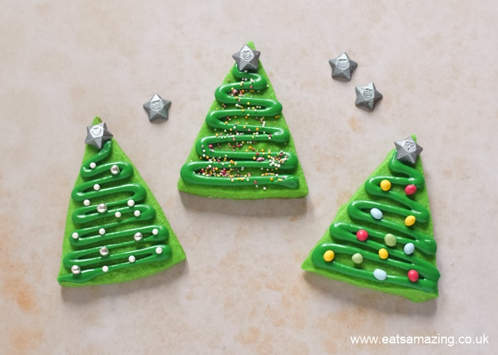 How to make easy Christmas tree cookies - step 5 finish with chocolate stars