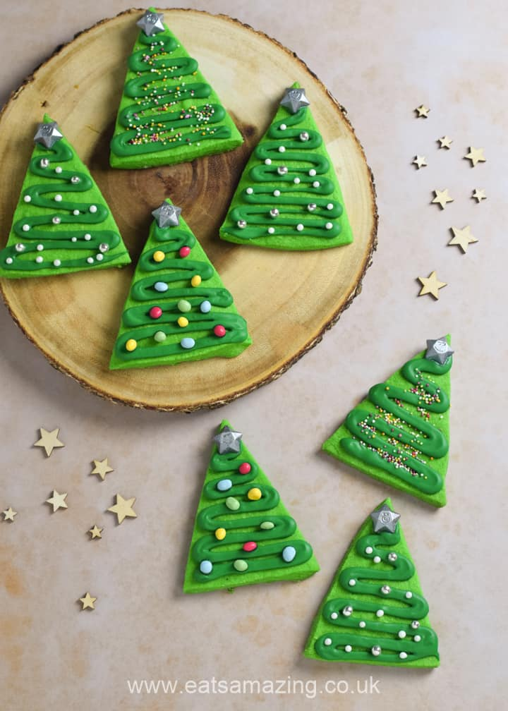 How to make quick and easy Christmas tree cookies - fun festive baking recipe for kids