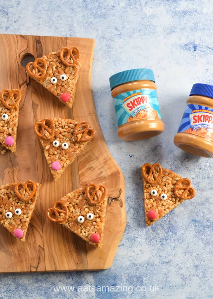 Peanut Butter Rice Crispy Treats for Christmast - fun Reindeer themed food for kids