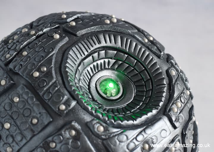 How to make a Star Wars Death Star Cake - Step 14 finish with green laser cake light