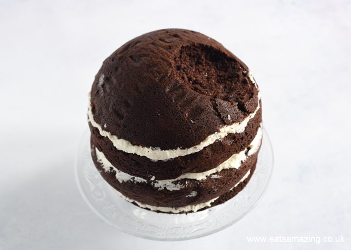 How to make a Star Wars Death Star Cake - Step 4 assemple the two cake halves together to form a full circle