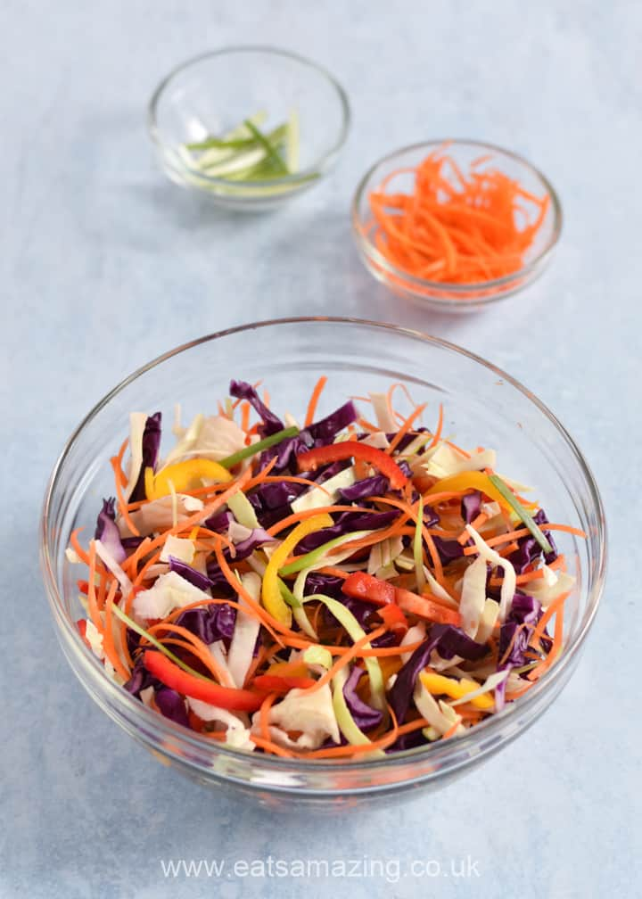 How to make easy Rainbow coleslaw - step 2 mix vegetables together