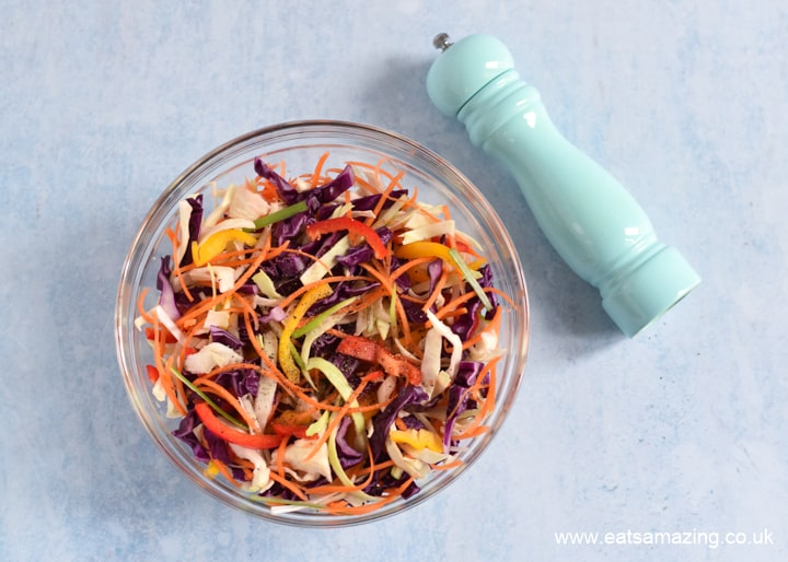 How to make easy Rainbow coleslaw - step 3 add black pepper if wanted