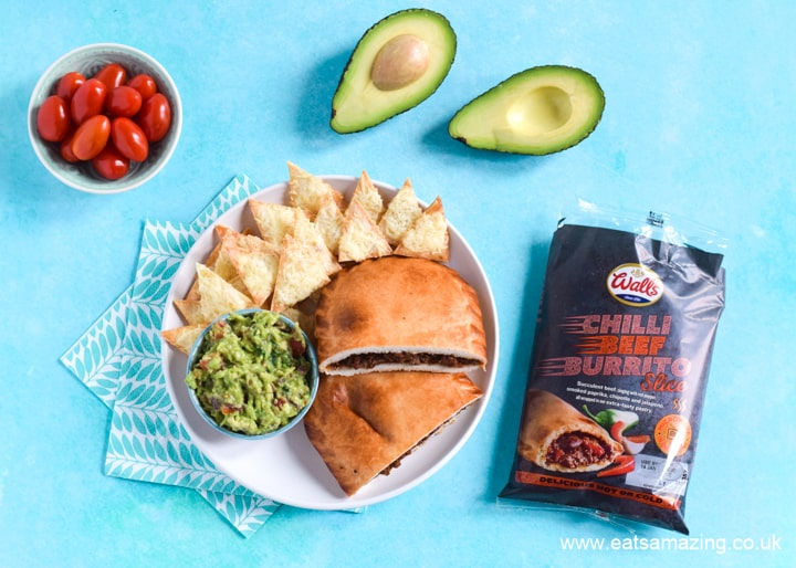 New Walls Pastry slices - Chilli Beef Burrito slice with homemade guacamole and tortilla chips