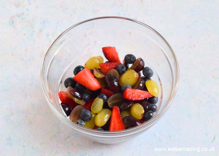 Cute and easy Easter Fruit Salad - step 1 prepare the fruit