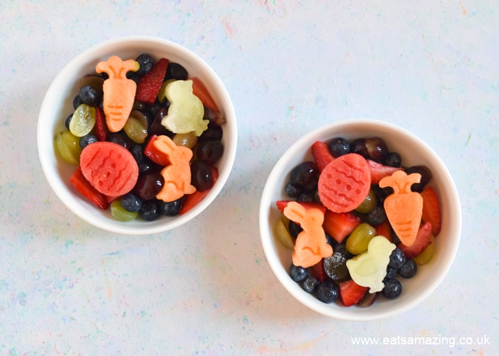 Cute and easy Easter Fruit Salad - step 5 top with Easter melon pieces