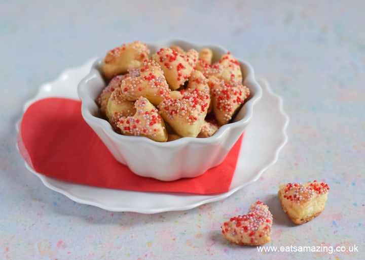 Cute and easy sprinkle covered pastry hearts - fun Valentines treat recipe for kids