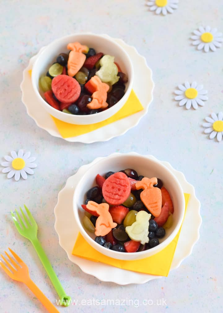 Fun and healthy Easter Fruit Salad recipe for kids - with cute Easter melon shapes