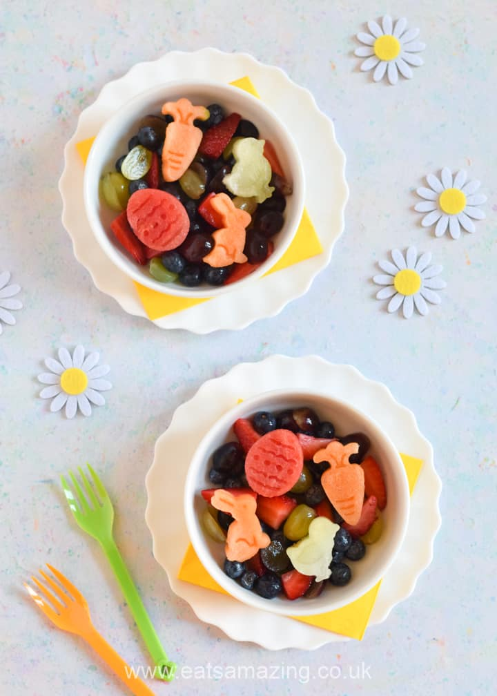 How to make a fun and healthy Easter dessert - Easter fruit salad recipe with melon shapes