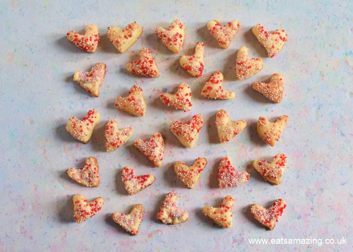 How to make cute and easy sprinkle covered pastry hearts - fun Valentines recipe for kids