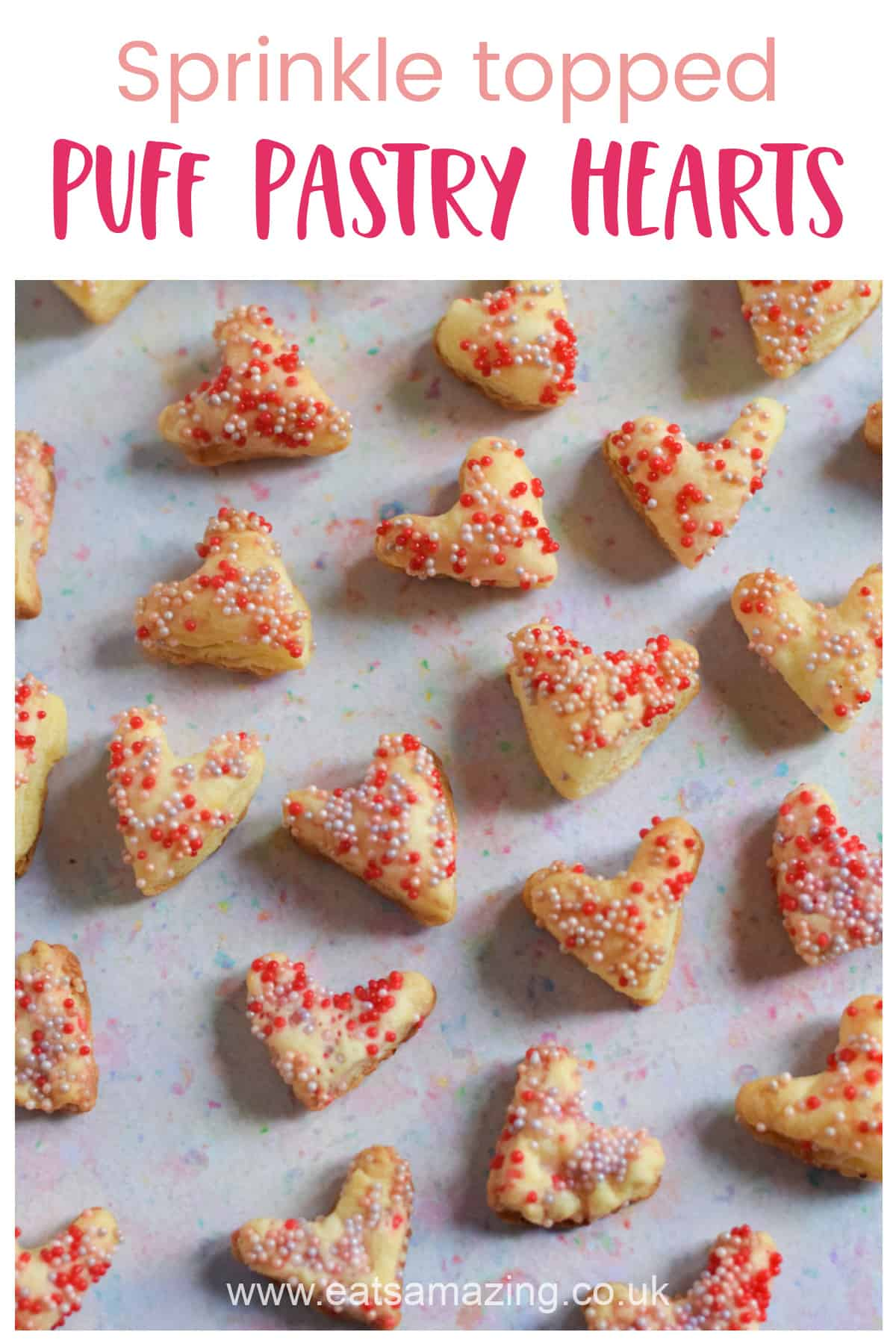 How to make cute and easy sprinkle puff pastry hearts - easy Valentines Recipe for Kids
