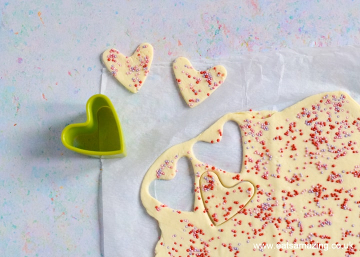 How to make easy Sprinkle Pastry Hearts - Step 4 cut out heart shapes