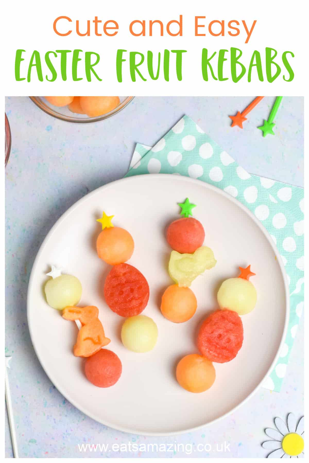 Cute and easy Easter fruit kebabs - healthy Easter recipe for kids