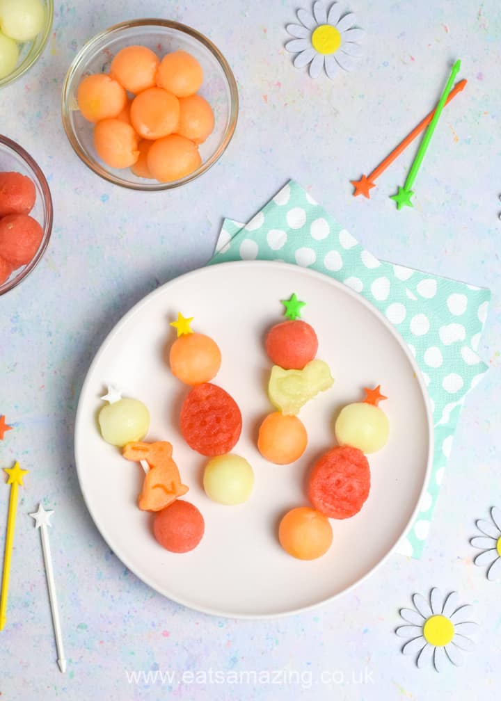 Cute and easy Easter fruit kebabs with melon shapes - healthy Easter recipe for kids