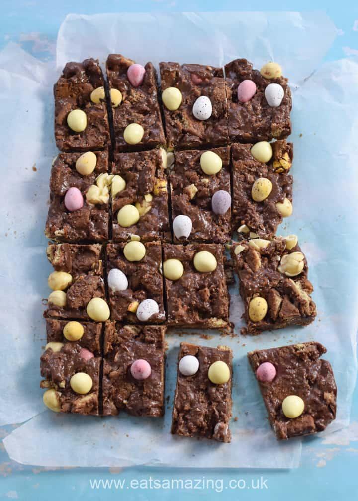 Easy Mini Egg Fridge Cake Recipe - this no bake chocolate fridge cake is perfect for Easter