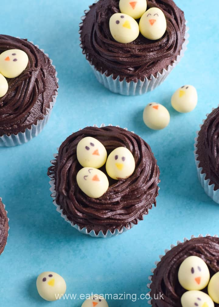 Easy chocolate nest Easter cupcakes recipe - fun Easter recipe for kids