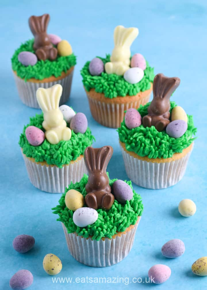 Fun and easy Easter bunny cupcakes recipe - fun Easter dessert idea for kids