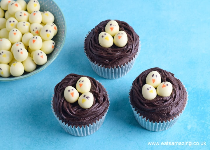 How to make chocolate nest Easter cupcakes step 3 add mini egg chicks to finish