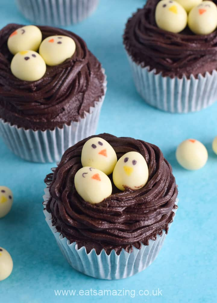 How to make cute and easy Easter nest chocolate cupcakes - fun Easter recipe for kids